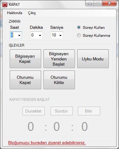 Bilgisayarı Otomatik Kapatma Programı V1.3